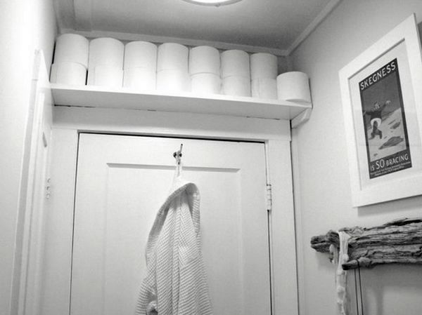 Above the toilet